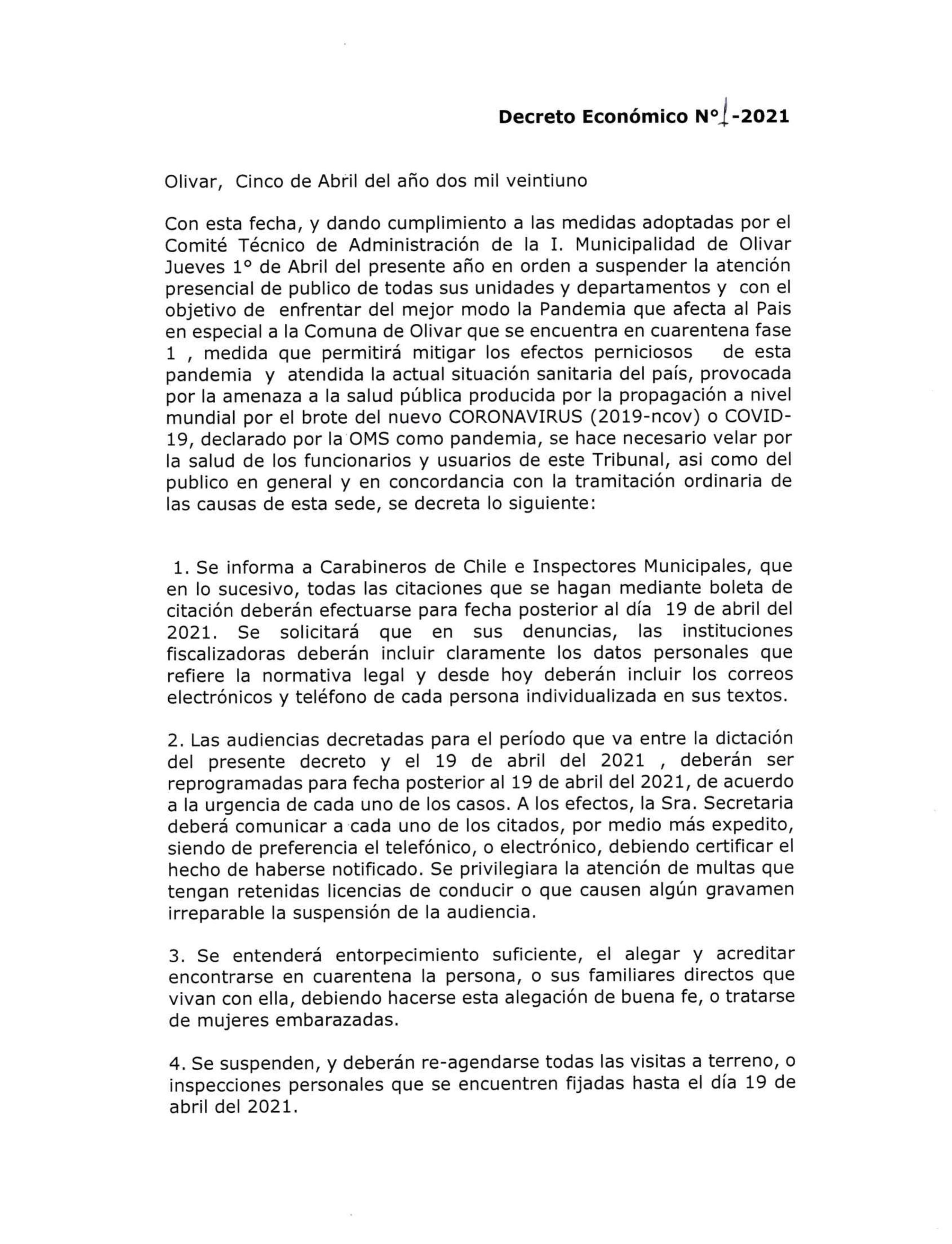 Decreto Económico Juzgado de Policía Local