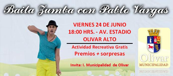 La Muncipalidad de Olivar te invita a bailar Zumba junto a Pablo Vargas