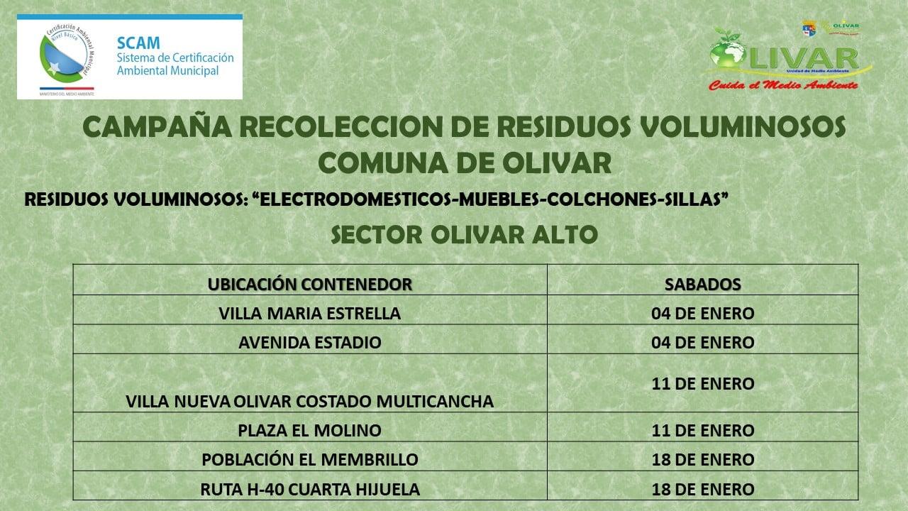 Retiro de enseres en desuso Olivar Alto /sábado 4 de enero